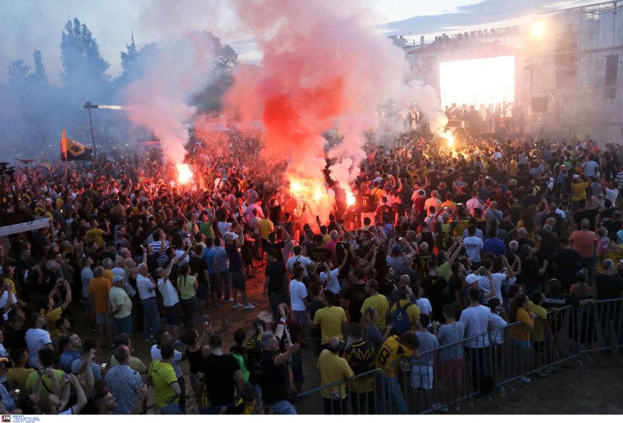 Eικόνες από την μεγάλη γιορτή της ΑΕΚ στη Νέα Φιλαδέλφεια