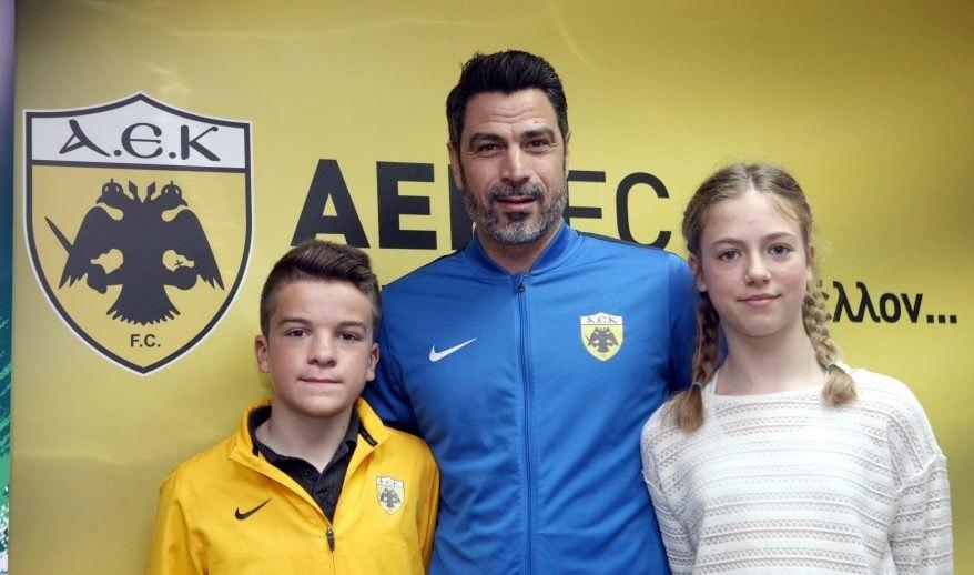 Εικόνες από την συνέντευξη τύπου για τη συμμετοχή των ακαδημιών της ΑΕΚ στο πρόγραμμα «Ποδόσφαιρο για τη φιλία»