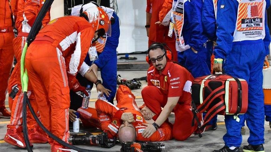 Ο Ράικονεν έσπασε το πόδι μηχανικού της Ferrari στο GP του Μπαχρέιν! (VIDEO)
