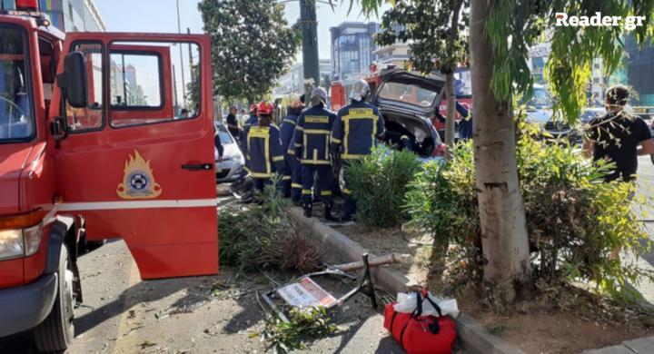 Σοβαρό τροχαίο στη Συγγρού με τραυματισμένη γυναίκα