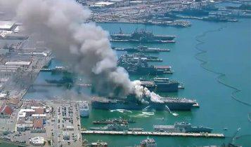 Πυρκαγιά σε πολεμικό πλοίο σε ναυτική βάση στο Σαν Ντιέγκο (VIDEO)