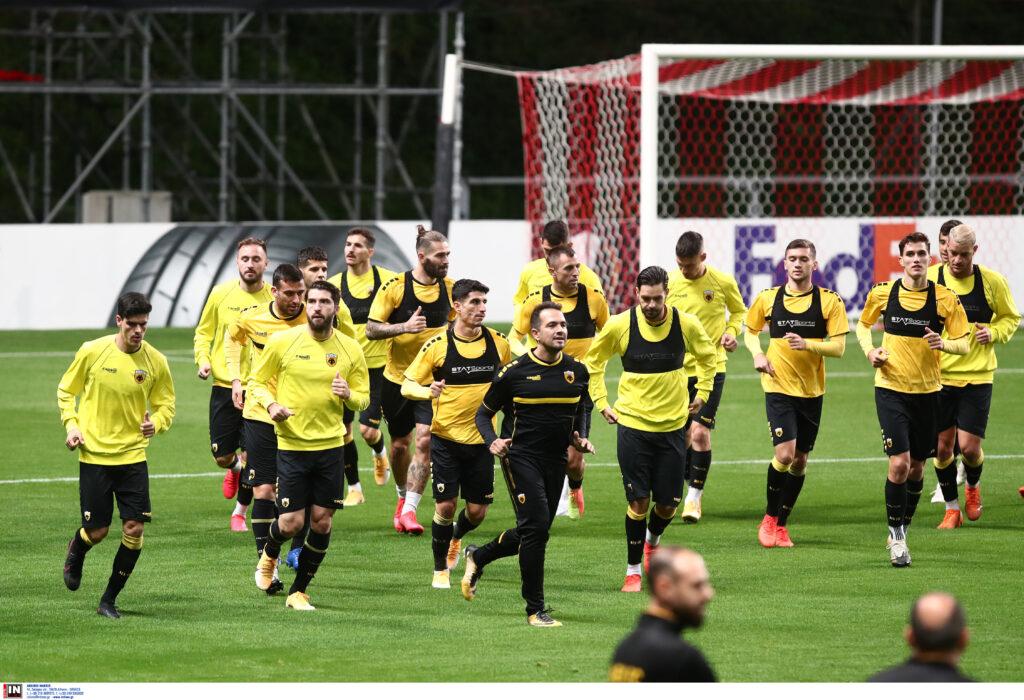 Εικόνες από την προπόνηση της ΑΕΚ στο γήπεδο της Μπράγκα