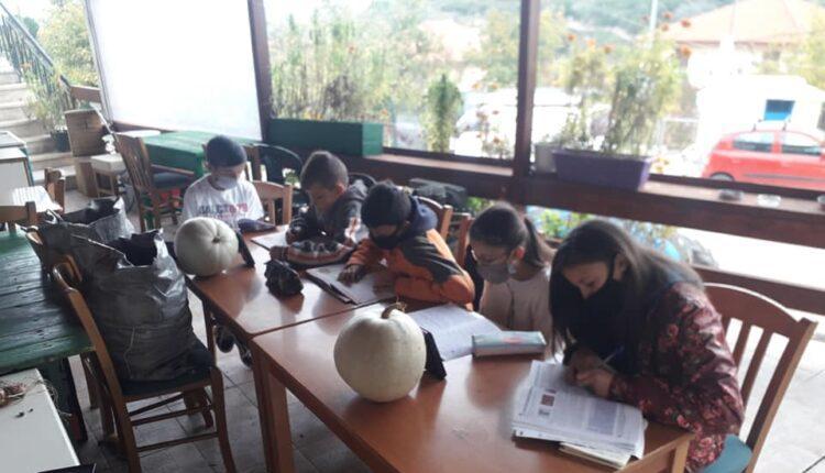 Ηλεία: Μαθητές κάνουν κάνουν τηλεκπαίδευση σε αυλή καφενείου (ΦΩΤΟ)