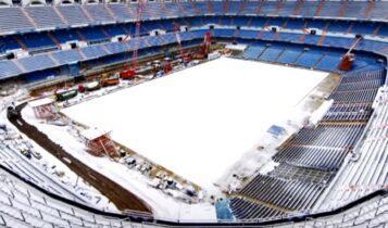 Ρεάλ Μαδρίτης: Χιονισμένο το «Μπερναμπέου», δεν σταμάτησαν οι εργασίες (VIDEO)