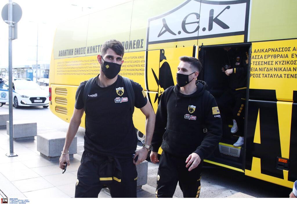 Εικόνες από την αναχώρηση της ΑΕΚ για Θεσσαλονίκη