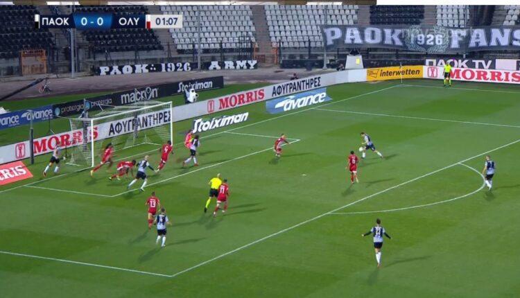 ΠΑΟΚ-Ολυμπιακός: Κοντά στο γκολ στο 2' με τον Μουργκ (VIDEO)