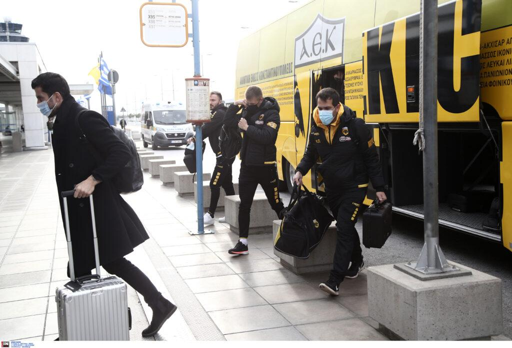 Εικόνες από την αναχώρηση της ΑΕΚ για την Θεσσαλονίκη