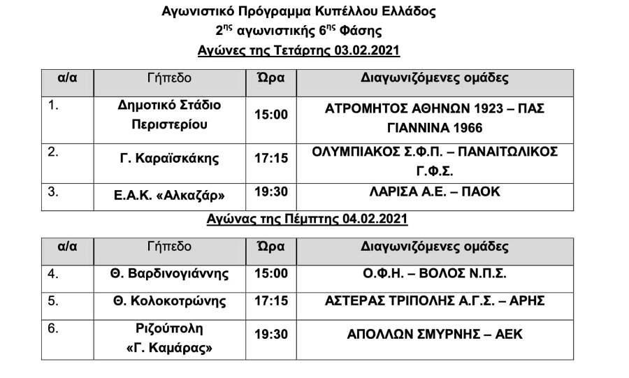 Κύπελλο Ελλάδας: Την Πέμπτη 4 Φεβρουαρίου στις 19:30 το Απόλλων Σμύρνης-ΑΕΚ