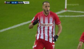 Ολυμπιακός-ΠΑΟΚ: Ασίστ Μπουχαλάκη, πλασέ Ελ Αραμπί και 1-0 (VIDEO)