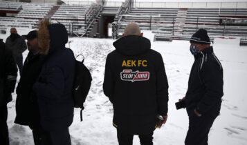 Νέες εικόνες από το χιονισμένο Αλκαζάρ πριν το Λάρισα-ΑΕΚ!