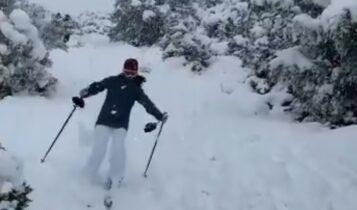 O πρέσβης της Νορβηγίας πήγε για σκι... στη Φιλοθέη (VIDEO)