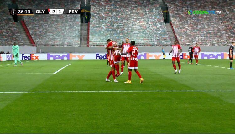 Ολυμπιακός-Αϊντχόφεν: Εκανε το 2-1 με σουτ του Εμβιλά (VIDEO)