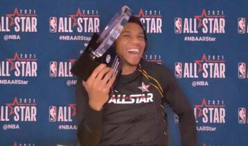 Αντετοκούνμπο: Μιμήθηκε... Λεμπρόν και αφιέρωσε το MVP στο Μιλγουόκι (VIDEO)