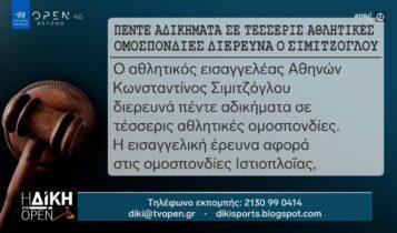 Πέντε αδικήματα σε τέσσερις αθλητικές ομοσπονδίες διερευνά ο Σιμιτζόγλου (VIDEO)