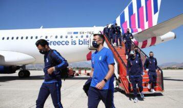 Εικόνες από την άφιξη της Εθνικής στην Ισπανία