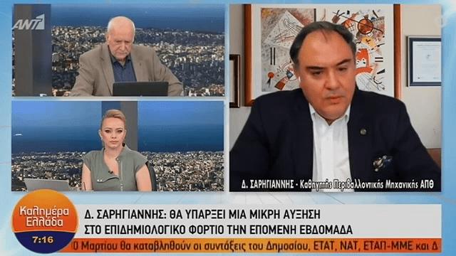 Σαρηγιάννης: «Θα φτάσουμε τα 3.800 κρούσματα μέχρι το τέλος του μήνα» (VIDEO)
