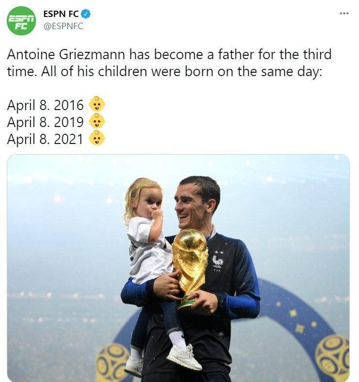 Απίστευτη σύμπτωση για τον Γκριεζμάν: Και τα τρία παιδιά του έχουν γεννηθεί στις 8 Απριλίου