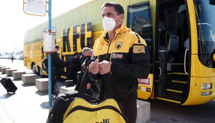 Εικόνες από την αναχώρηση της ΑΕΚ για τη Θεσσαλονίκη