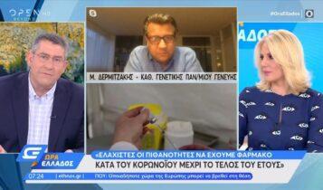 Δερμιτζάκης: «Ελάχιστες οι πιθανότητες να έχουμε φάρμακο κατά του κορωνοϊού μέχρι τέλος του έτους» (VIDEO)