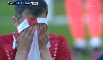 Ολυμπιακός-ΠΑΟΚ: Ο Παπασταθόπουλος αποχώρησε τραυματίας στο 5' - Ο Εμβιλά στη θέση του (VIDEO)