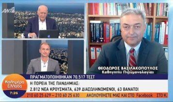 Βασιλακόπουλος: «Περιττό το τεστ για κορωνοϊό μετά τον εμβολιασμό» (VIDEO)