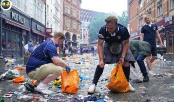 EURO 2021: Οπαδοί της Σκωτίας καθάρισαν πλατεία που… λέρωσαν πριν το βρετανικό ντέρμπι