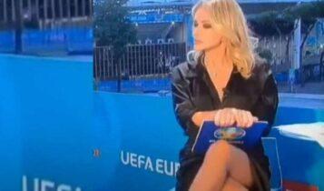 EURO 2021: Παρουσιάστρια σαν άλλη Σάρον Στόουν προκαλεί «εγκεφαλικά» με σταυροπόδι αλά «Βασικό Eνστικτο» (VIDEO)