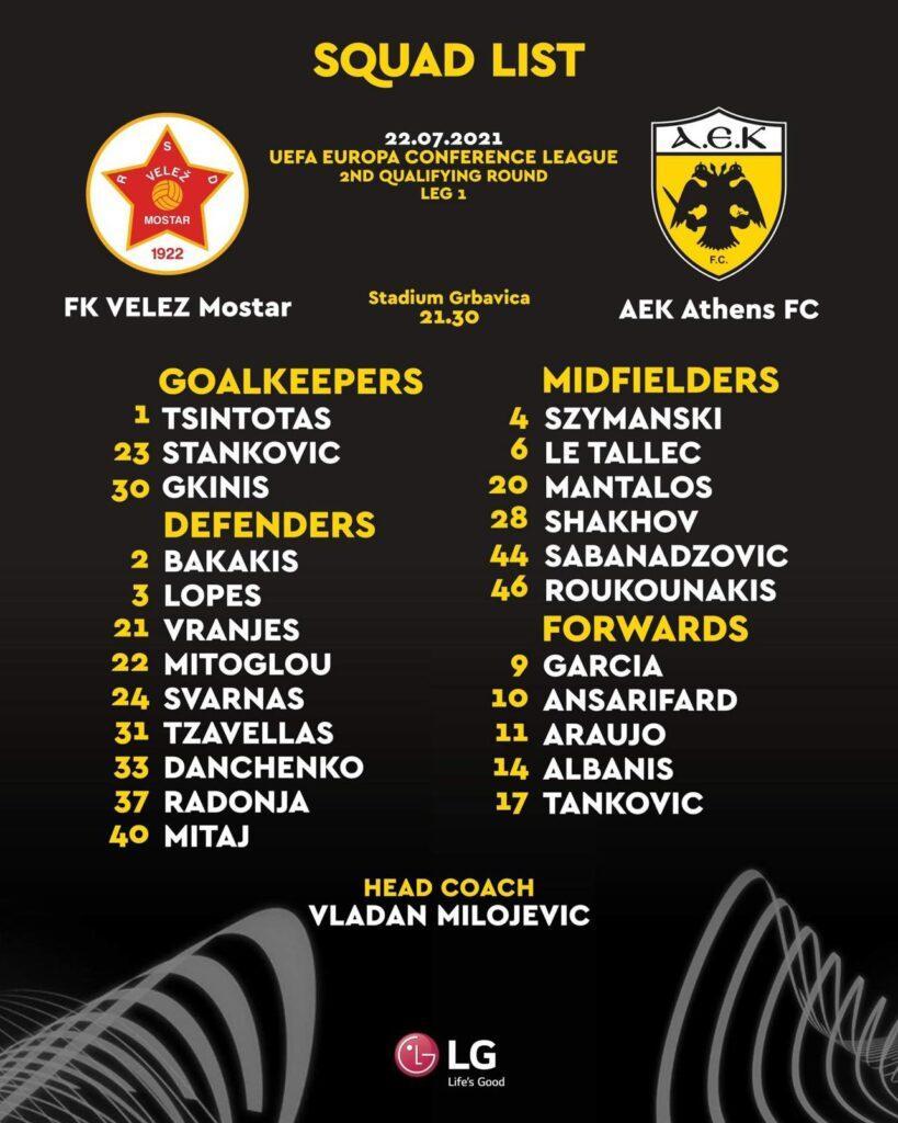 Με όλες τις μεταγραφές της η ΑΕΚ για το ματς με Βελέζ! (ΦΩΤΟ)