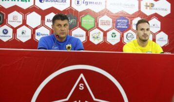 Εικόνες από τη συνέντευξη Τύπου για το Βελέζ-ΑΕΚ με Μιλόγεβιτς και Μπακάκη
