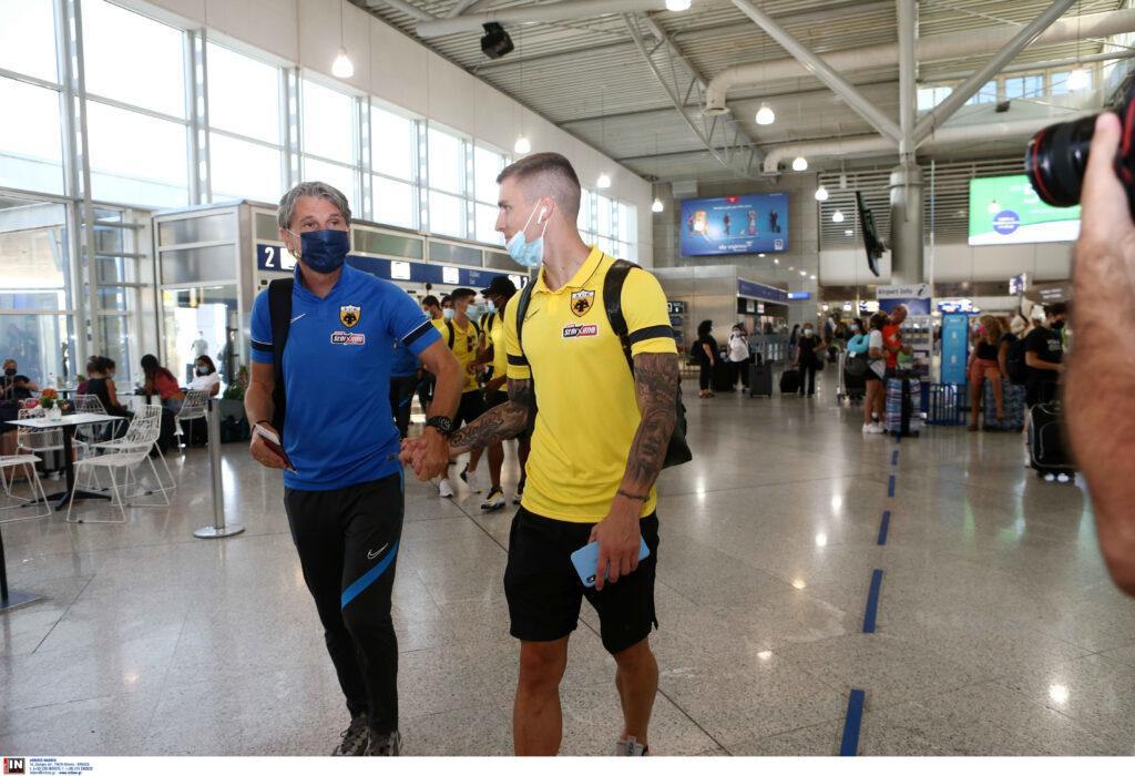 Εικόνες από την αναχώρηση της ΑΕΚ για Βοσνία