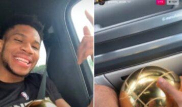 Η επική αντίδραση οπαδού των Μπακς που τον άφησε ο Αντετοκούνμπο να αγγίξει το τρόπαιο (VIDEO)