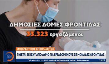 Υποχρεωτικός εμβολιασμός: Τίθεται σε ισχύ από αύριο σε εργαζομένους σε μονάδες φροντίδας (VIDEO)