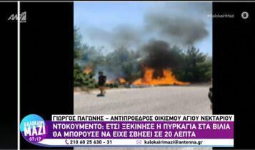 Πώς ξεκίνησε η πυρκαγιά στα Βίλια (VIDEO)