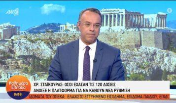 Σταϊκούρας: «Ίσως και σήμερα να ανοίξει η πλατφόρμα για τις 72 δόσεις» (VIDEO)
