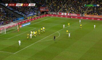Σουηδία-Ελλάδα: Νέο δοκάρι για την Εθνική σε κεφαλιά του Παυλίδη (VIDEO)